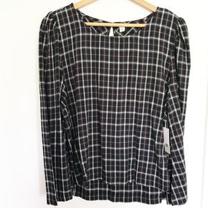 BP Nordstrom flannel plaid bell sleeve keyhole
